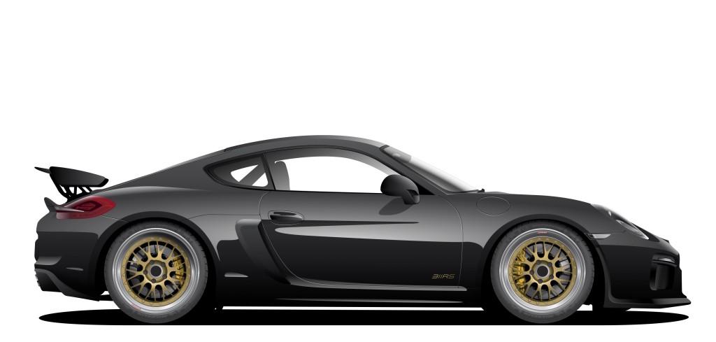 Porsche 981 Cayman GT4 BBS E88 Gold Michelin JRZ RS Pro Akrapovic Girodisc Motive Artworks